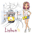 girl and yellow 28 tram alfama lisbon portugal vector image vector image