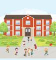 group elementary school kids in school yard vector image vector image