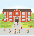 group of elementary school kids in the school yard vector image vector image
