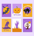 halloween party posters and invitation cards vector image vector image