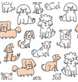 handdrawn seamless pattern with cute doodle dogs vector image vector image