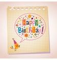 Happy Birthday note paper cartoon vector image vector image