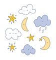 happy cartoon clouds moon and stars set vector image vector image