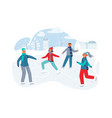 happy characters skating on ice rink winter season vector image