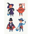 happy excited kids in halloween costumes vector image vector image
