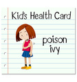 Health card with girl having poison ivy vector image vector image