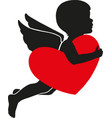 heart with cupid valentine s day vector image vector image