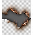 hole torn in ripped paper with burnt and flame on vector image vector image