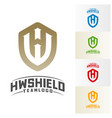 hw shield logo design initial hw logo template vector image