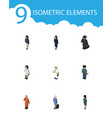 isometric human set of seaman hostess cleaner vector image vector image