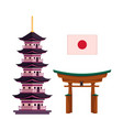 japanese national flag pagoda and torii gate vector image vector image