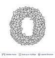 letter o symbol of white leaves vector image