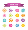multicolored icons with tape on topic flowers vector image vector image