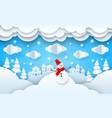 papercut winter landscape xmas new year vector image