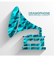 Polygonal retro gramophone background concept vector image