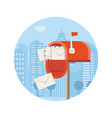 postal service icon with letterbox vector image vector image