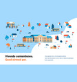 pupils going to school map isometric building yard vector image
