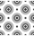 seamless pattern with black flowers and halftone vector image vector image