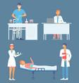 set doctors patient nurse vector image