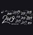 set white typographic hand drawn vintage 2019 vector image vector image