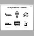 transportation elements solid pack vector image vector image