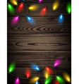 Wooden card with Christmas lights vector image vector image