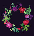 wreath with flowers and leaves colorful floral vector image