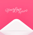 Your Love Lyrics Envelope Design vector image