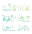nature landscape icons with tree plants vector image