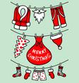 santa claus clothesline christmas card vector image