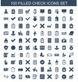 100 check icons vector image vector image