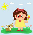 a nice girl in a yellow dress and glasses is vector image vector image