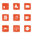 add recipient icons set grunge style vector image vector image