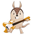 armadillo playing guitar on white background vector image vector image