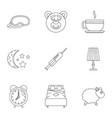 bed time rest icon set outline style vector image vector image