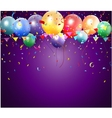 Birthday poster with balloon and confetti vector image vector image