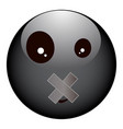black and depressive smiley with a sealed mouth vector image vector image