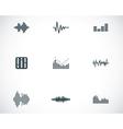 Black music soundwave icons set