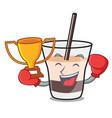 boxing winner white russian mascot cartoon vector image vector image