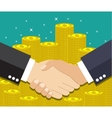 Businessmen handshake on coin background vector image