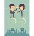 Businessmen handshaking after business meeting vector image