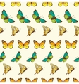 Butterflies Stripes Seamless Pattern vector image