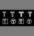 capital letter t modern set for monograms logos vector image vector image