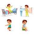 cartoon boy daily morning routine activity vector image vector image