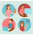 characters working at computers - in flat retro st vector image vector image