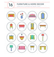 collection of furniture and home decor icons vector image