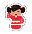 doll japanese kokeshi geisha kimono vector image vector image
