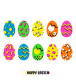 easter eggs in memphis style vector image vector image