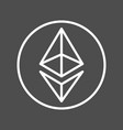 ethereum sign thin line icon for internet money vector image vector image