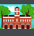 fire station cartoon on landscape vector image